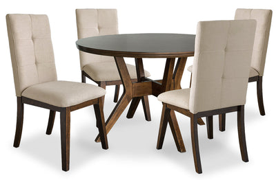Chelsea 5-Piece Round Dining Table Package with Beige Chairs|Ensemble de salle à manger Chelsea 5 pièces avec table ronde et chaises beiges|CHE3TRP5
