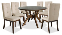 Chelsea 7-Piece Round Dining Table Package with Beige Chairs