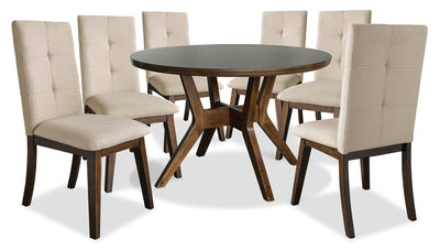 Chelsea 7-Piece Round Dining Table Package with Beige Chairs|Ensemble de salle à manger Chelsea 7 pièces avec table ronde et chaises beiges|CHE3TRP7