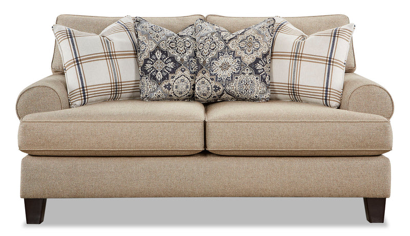 Ciera Linen-Look Fabric Loveseat - Whitaker Wheat|Causeuse Ciera en tissu d'apparence lin - blé Whitaker