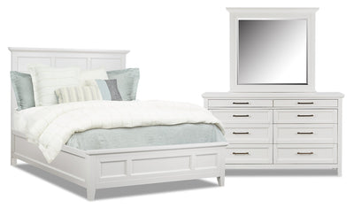 Citadel 5-Piece Queen Bedroom Package - Dove White|Ensemble de chambre à coucher Citadel 5 pièces avec grand lit - blanc colombe|CITAWQP5