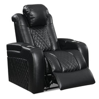 Cody Leather-Look Fabric Power Reclining Chair with Storage - Black