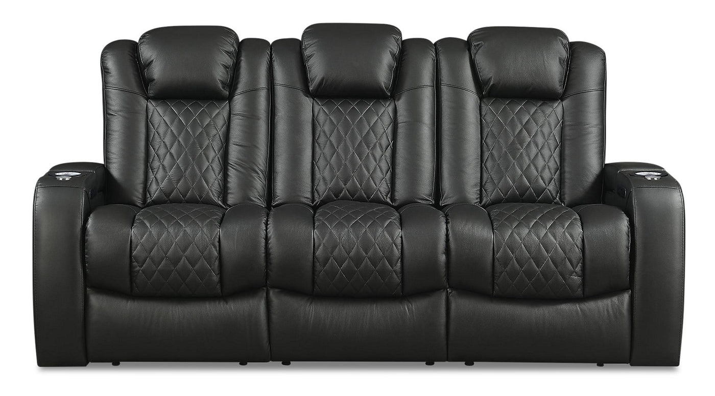 Cody Leather Look Fabric Power Reclining Sofa With Storage Black