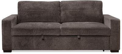 Conor Chenille Full-Size Sleeper Sofa – Ebony - Modern style Sleeper Sofa in Ebony Polyester
