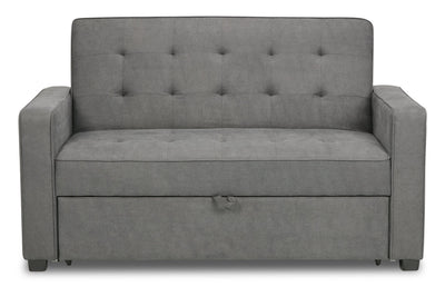 Corey Velvet Futon - Grey - Modern style Futon in Grey Plywood, Solid Woods