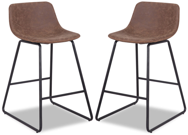 Coty Counter-Height Chair, Set of 2 - Brown - {Modern} style Bar Stool in Brown {Metal}