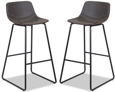 Coty Barstool, Set of 2 - Grey - {Modern} style Bar Stool in Grey {Metal}