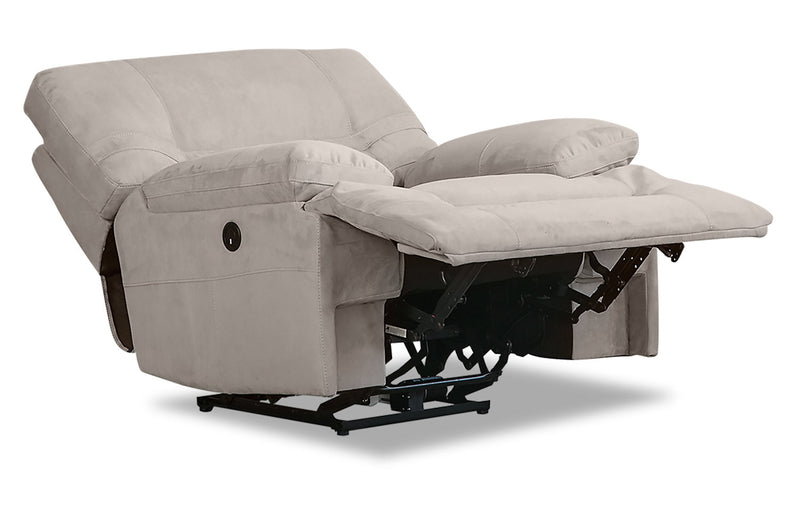 Crew Faux Suede Reclining Chair - Granite Beige|Fauteuil inclinable Crew en suédine - beige granite