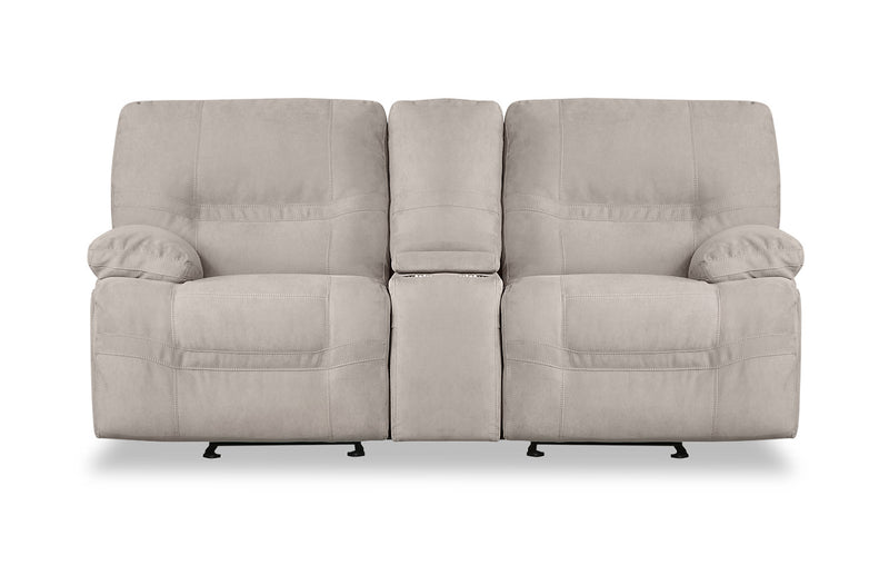 Crew Faux Suede Reclining Loveseat - Granite Beige|Causeuse inclinable Crew en suédine - beige granite