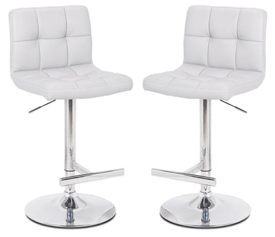 Cruz White Bar Stool, Set of 2 - {Contemporary} style Bar Stool in White {Metal}