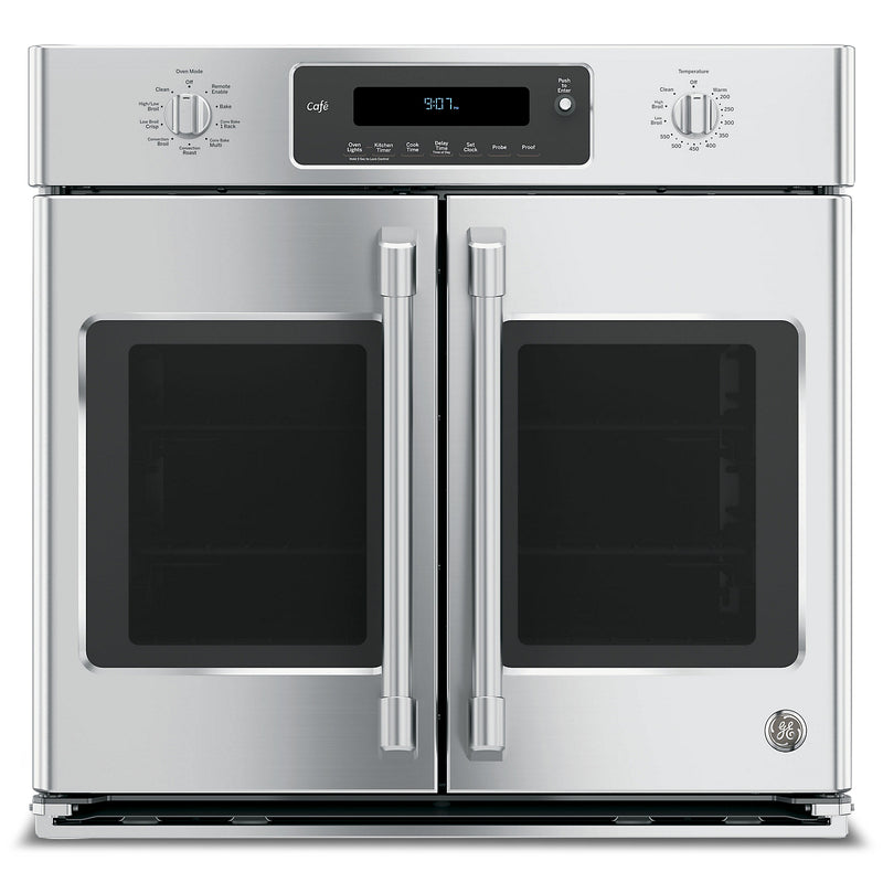 "GE Café 30"" Professional French-Door Electronic Convection Single Wall Oven – CT9070SHSS