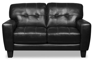 Curt Genuine Leather Loveseat - Black - {Modern}, {Retro} style Loveseat in Black {Solid Woods}