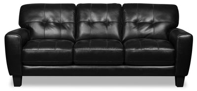 Curt Genuine Leather Sofa - Black|Sofa Curt en cuir véritable - noir|CURTBKSF
