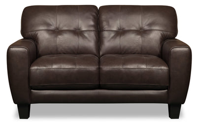 Curt Genuine Leather Loveseat - Brown - {Modern}, {Retro} style Loveseat in Brown {Solid Woods}