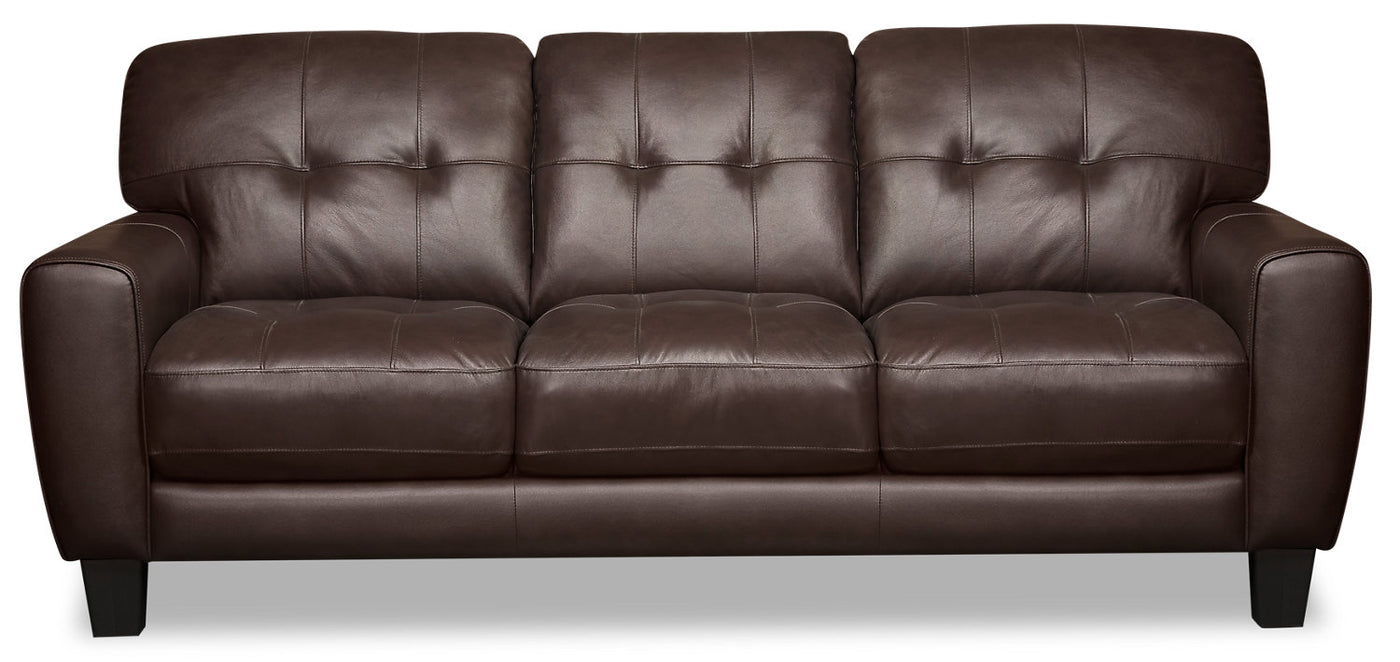 Picture of: Curt Genuine Leather Sofa Brown The Brick