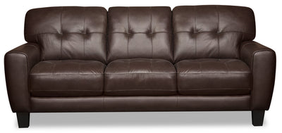 Curt Genuine Leather Sofa - Brown|Sofa Curt en cuir véritable - brun|CURTBRSF