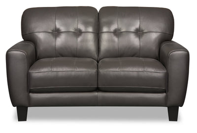 Curt Genuine Leather Loveseat - Grey - {Modern}, {Retro} style Loveseat in Grey {Solid Woods}