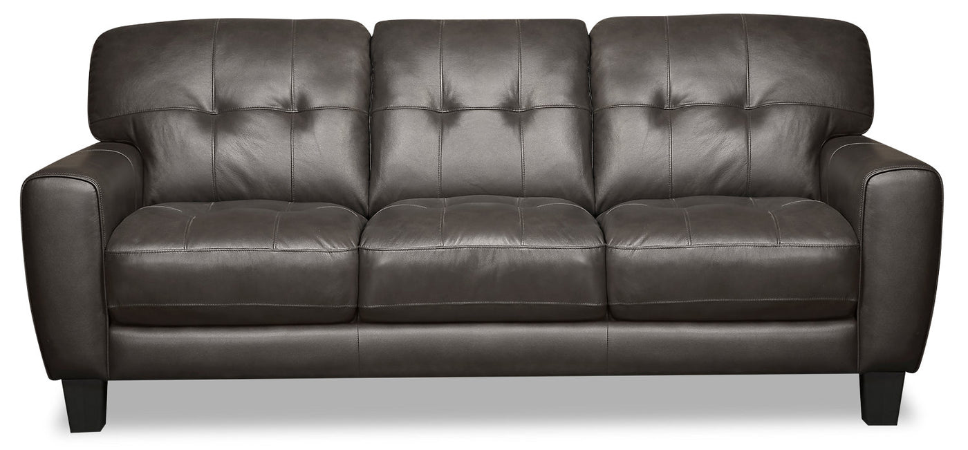 Picture of: Curt Genuine Leather Sofa Grey The Brick