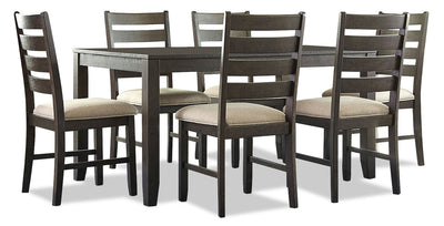 Rokane 7-Piece Dining Package - Contemporary style Dining Room Set in Dark Brown Hardwood Solids and Veneers