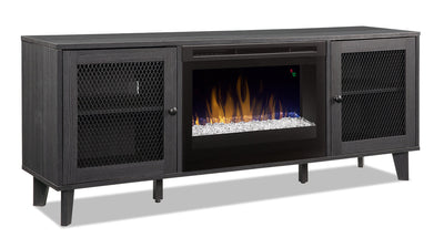 "Dean 65"" TV Stand with Glass Firebox"