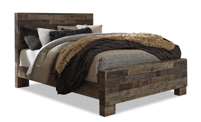 Derekson Queen Bed - {Rustic}, {Contemporary} style Bed in Grey {Engineered Wood}, {Medium Density Fibreboard (MDF)}
