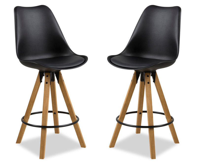 Dima Counter-Height Dining Chair, Set of Two - Black|Chaise de salle à manger Dima, ensemble de 2 - noire