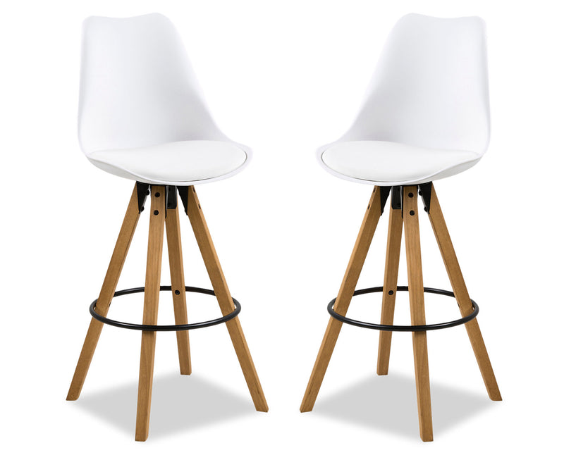 Dima Bar Stool, Set of Two - White|Tabouret bar Dima, ensemble de 2 - blanc