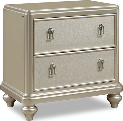 Diva Nightstand - Glam style Nightstand in Silver Hardwood Solids and Birch Veneers