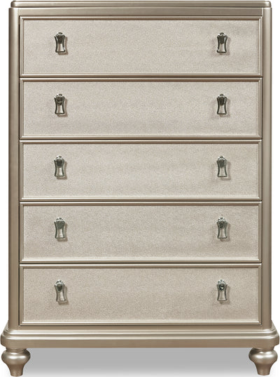 Diva Chest - Glam style Chest in Silver Hardwood Solids and Birch Veneers