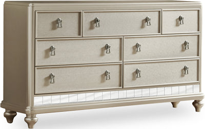 Diva Dresser - Glam style Dresser in Silver Hardwood Solids and Birch Veneers