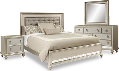Diva 6-Piece Queen Bedroom Package - Glam style Bedroom Package in Silver Hardwood Solids and Birch Veneers