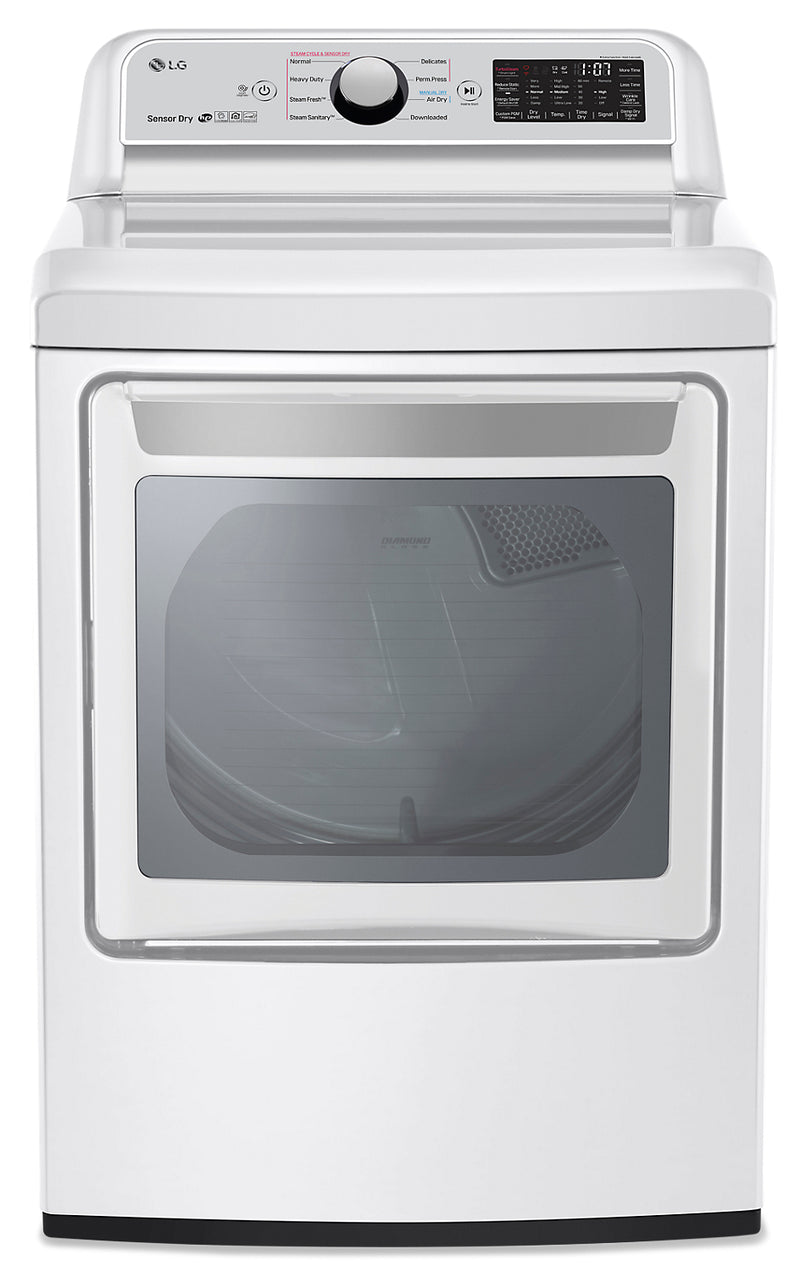 LG 7.3 Cu.Ft. Electric Smart Dryer with TurboSteam® - DLEX7250W - Dryer in White