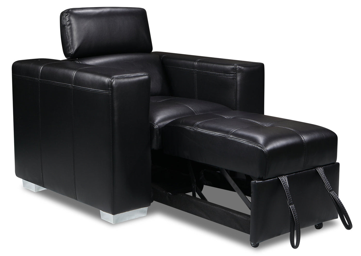 Picture of: Drake Leather Look Fabric Chair With Pull Out Ottoman Black The Brick