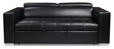 Drake Leather-Look Fabric Sleeper Sofa - Black - {Modern} style Sleeper Sofa in Black {Plywood}, {Solid Woods}