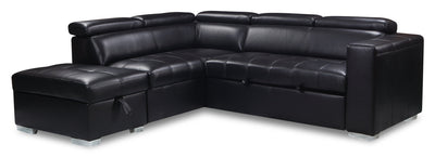 Drake 3-Piece Leather-Look Fabric Left-Facing Sleeper Sectional - Black|Sofa-lit sectionnel de gauche Drake 3 pièces en tissu d'apparence cuir - noir|DRAKBKSL