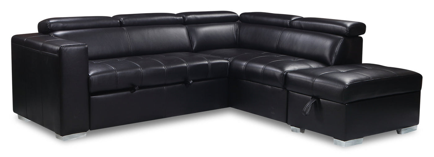 Drake 3 Piece Leather Look Fabric Right Facing Sleeper Sectional The Brick