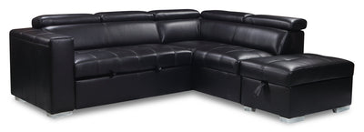 Drake 3-Piece Leather-Look Fabric Right-Facing Sleeper Sectional - Black|Sofa-lit sectionnel de droite Drake 3 pièces en tissu d'apparence cuir - noir|DRAKBKSR