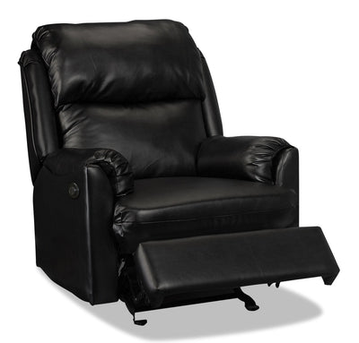 Drogba Faux Leather Power Recliner - Black|Fauteuil à inclinaison électrique Drogba en similicuir - noir|DROGBA-P