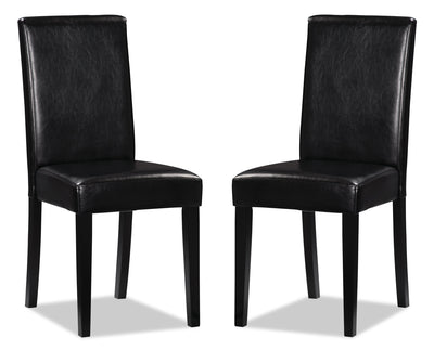 Chelsea Faux Leather Accent Dining Chair, Set of 2 – Black|Chaise de salle à manger Chelsea en similicuir, ensemble de 2 – noire|DY6561BP