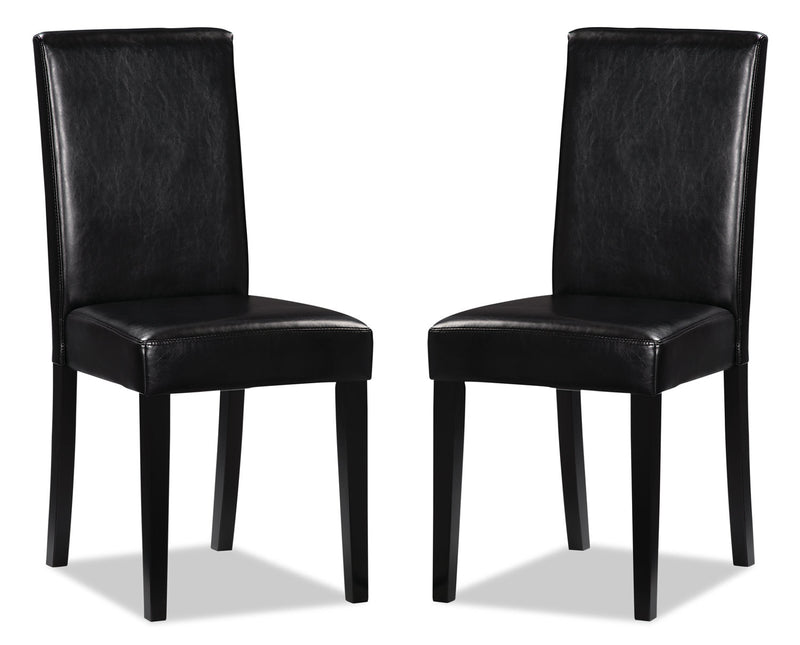 Chelsea Faux Leather Accent Dining Chair, Set of 2 – Black|Chaise de salle à manger Chelsea en similicuir, ensemble de 2 – noire