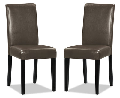 Chelsea Faux Leather Accent Dining Chair, Set of 2 – Brown|Chaise de salle à manger Chelsea en similicuir, ensemble de 2  – brune|DY6561CP