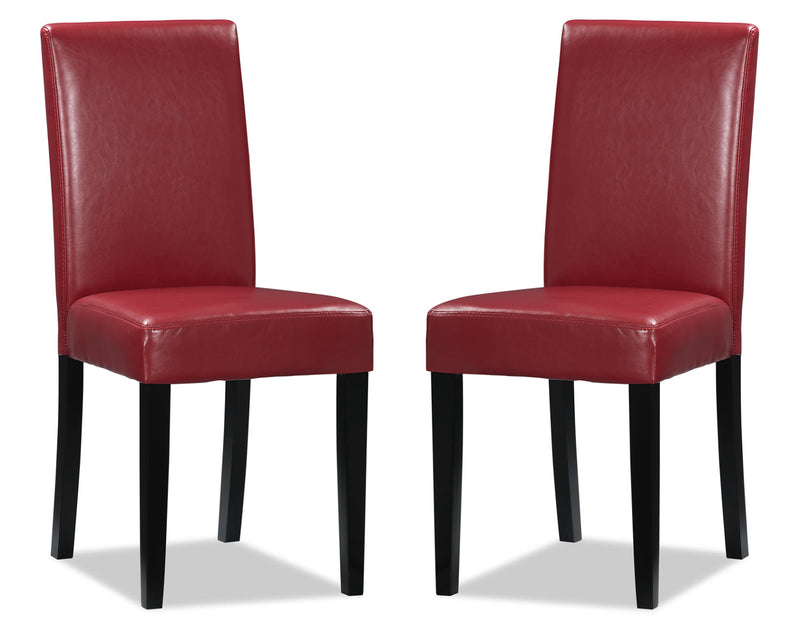 Chelsea Faux Leather Accent Dining Chair, Set of 2 – Red|Chaise de salle à manger Chelsea en similicuir, ensemble de 2  – rouge|DY6561RP