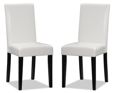 Chelsea Faux Leather Accent Dining Chair, Set of 2 – White|Chaise de salle à manger Chelsea en similicuir, ensemble de 2  – blanche|DY6561WP