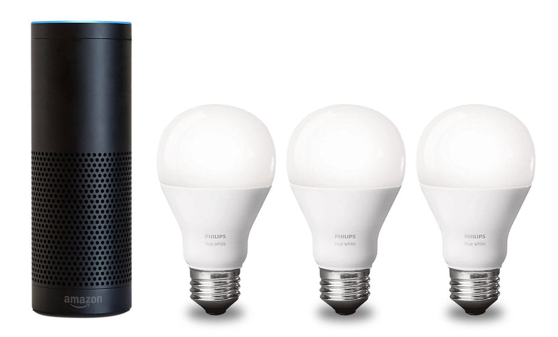 Amazon Echo Plus mart Home Assistant Speaker and 3 Philips Smart Bulbs| Echo Plus d'Amazon et 3 Ampoules de Philips Hue