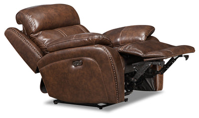 Eddy Genuine Leather Power Recliner - Brown|Fauteuil à inclinaison électrique Eddy en cuir véritable - brun|EDDYBRPC