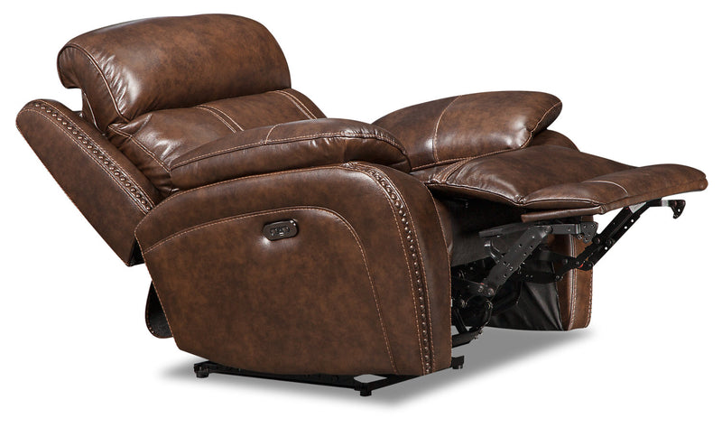 Eddy Genuine Leather Power Recliner with Power Headrest - Brown