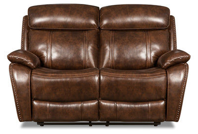 Eddy Genuine Leather Power Reclining Loveseat - Brown|Causeuse à inclinaison électrique Eddy en cuir véritable - brune|EDDYBRPL
