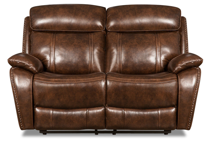 Eddy Genuine Leather Power Reclining Loveseat with Power Headrest - Brown