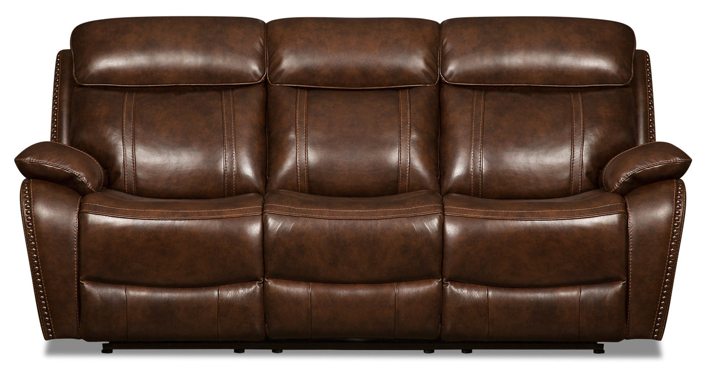 Eddy Genuine Leather Power Reclining Sofa - Brown