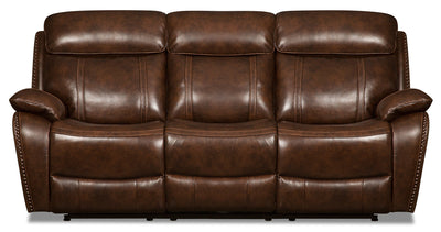 Eddy Genuine Leather Power Reclining Sofa with Power Headrest - Brown